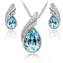 Fashion High imitation Austria Crystal Water Drop Leaves Earrings Necklace Jewelry Sets  for women Classic Wedding Jewellery Set