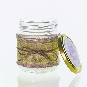 Custom Design Glass Jar Scented Soy Candles OEM with Metal Lid