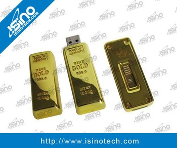 Gold Bar USB Flash Memory Stick, Extendable USB Head