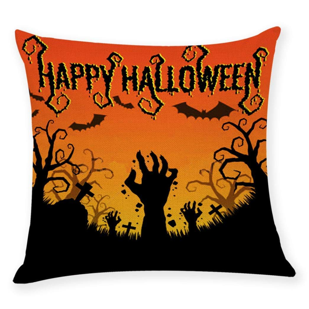 Zainafacai Home Decor Cushion Cover, Happy Halloween Throw Pillowcase Pillow Covers, 9 Patterns Available (H, One Size)