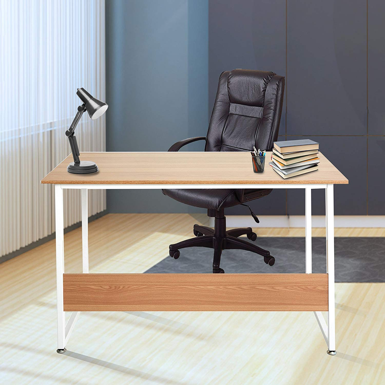 """47"""" Modern Simple Style Home Office Computer Desk,Study Table Writing Desk Workstation Wood PC Laptop Table with Metal Legs,Oak&White"""