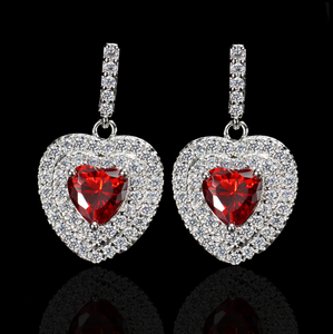 Luxury Heart Shape Earrings Pave Setting with AAA Cubic Zirconia Wedding Earring Earrings for Women Jewelry
