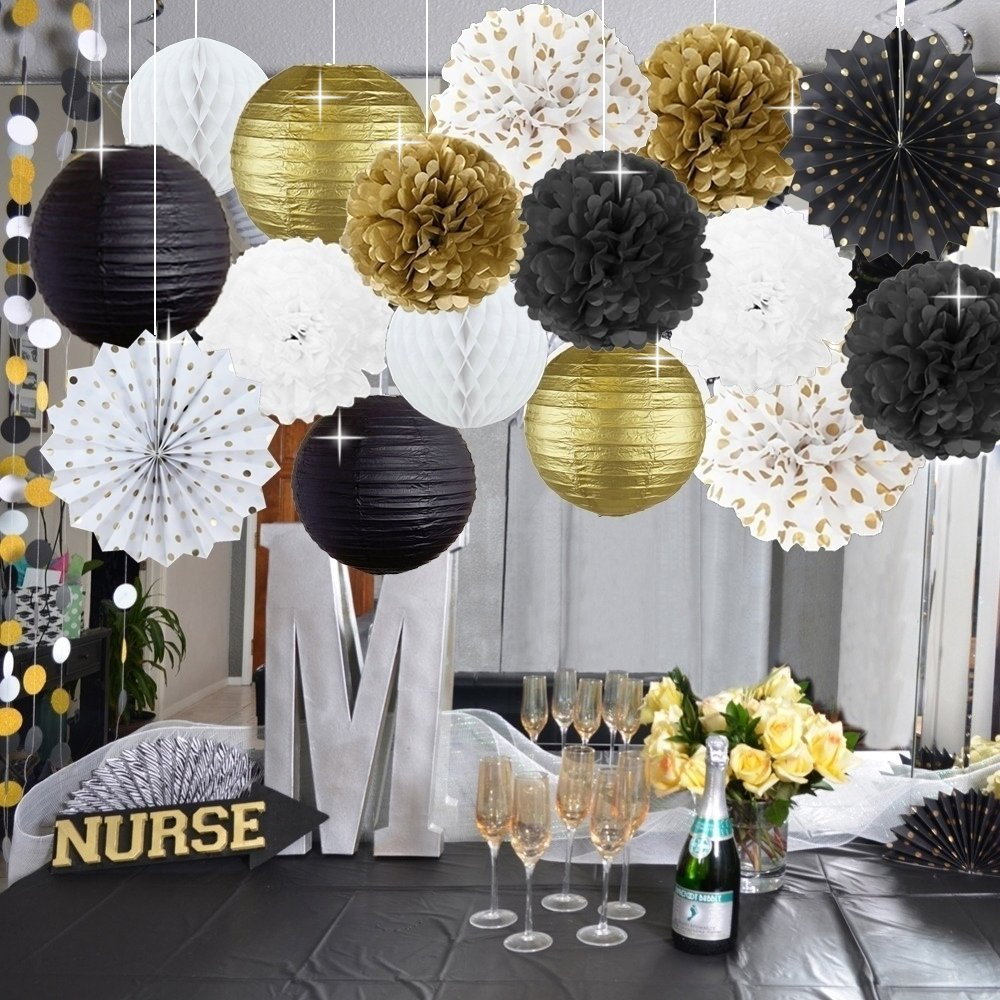 Get Quotations Kubert New Year Party Decoration Gold Polka Dot Tissue Paper Fans Black White
