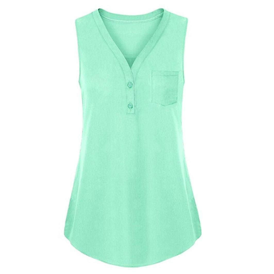 Clearance! Leedford Sexy Women Summer Loose V Neck Cami Tank Solid Tops Vest Blouse Plus Size Casual Vest Tops