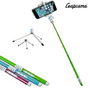 LEAPCAMA(TM) Professional 5 in 1 Multifunction High Tech Ecofriendly Carbon Fiber Bluetooth Remote Shutter Control Extendable Selfportrait Photo Selfie Handheld Stick Monopod with Adajustable Phone Holder Stand for iPhone 5/5s 5C iPhone 6 Samsung Blackberry Camera (Green)