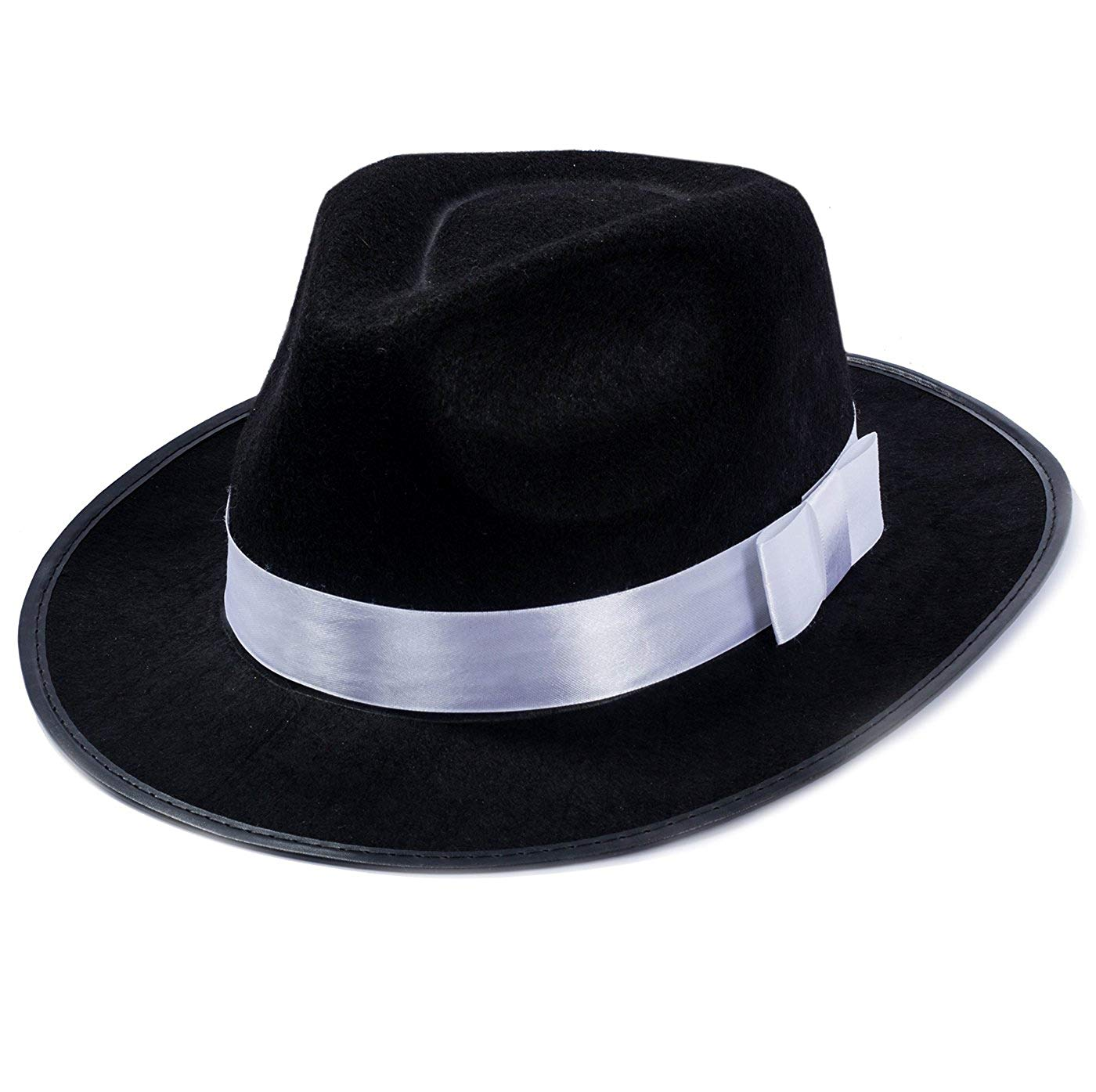 Get Quotations · Funny Party Hats Black Fedora Gangster Hat Costume  Accessory a248e76146d3