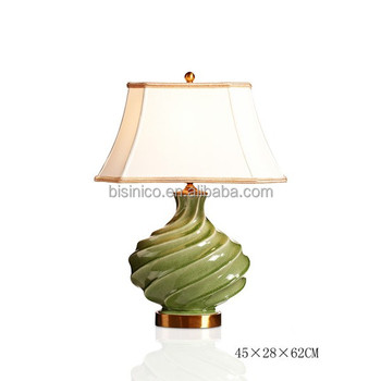 Vintage Mid Century Modern Home Decorative Ceramic Table Lamp With Shade Oyster Green Porcelain With Bronze Desk Lamp View Antique Decorative Table