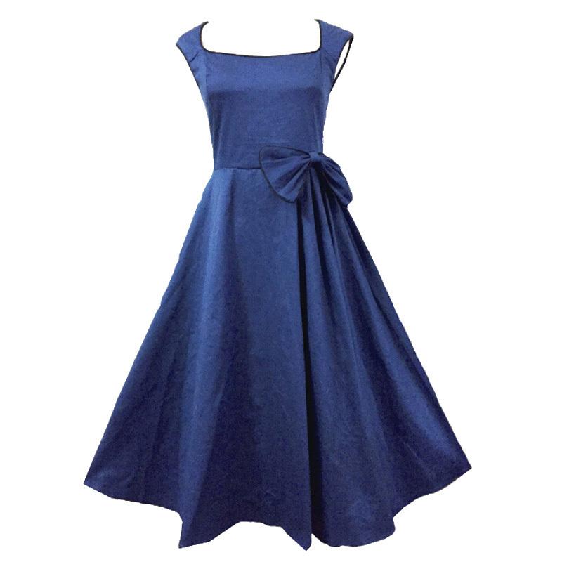 51327f970a5 Get Quotations · Dark Blue Garment 2015 Women Vintage Formal Prom Swing  Casual Dress Big Bow Elegant Retro Evening