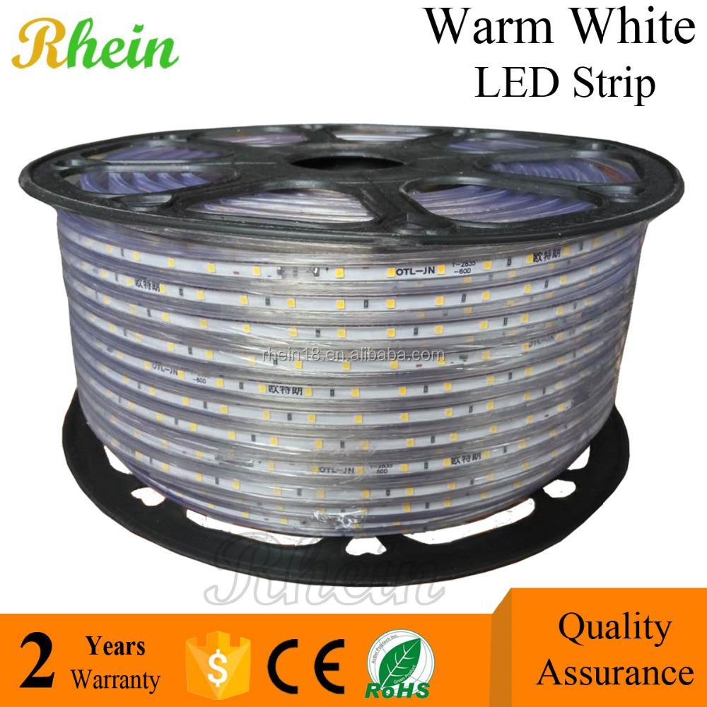 China Best Price Warm White Color Waterproof IP65 High Voltage 110v 220 v 2835 LED Strip Light