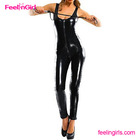 PU Leather Black Sleeveless Sexy Bondage Body Latex Catsuit With Front Zipper