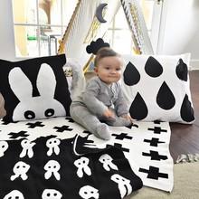 manta de beb negro blanco lindo conejo a cuadros de punto de cruz cisne cobertores de