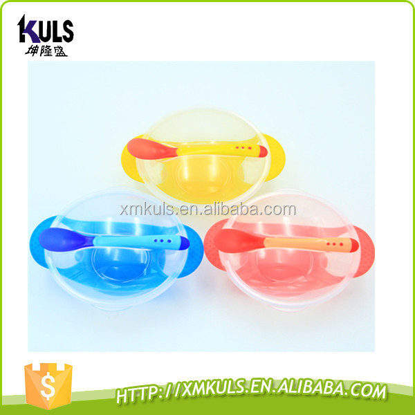 High Qulity Plastic Baby Bowl/Kids Silicone Suction Feeding Bowl Cutlery Sets with Spoon and Fork