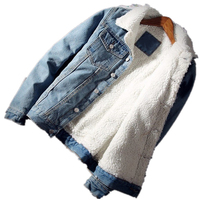 2019 New design high quality light blue mens winter sherpa denim jacket