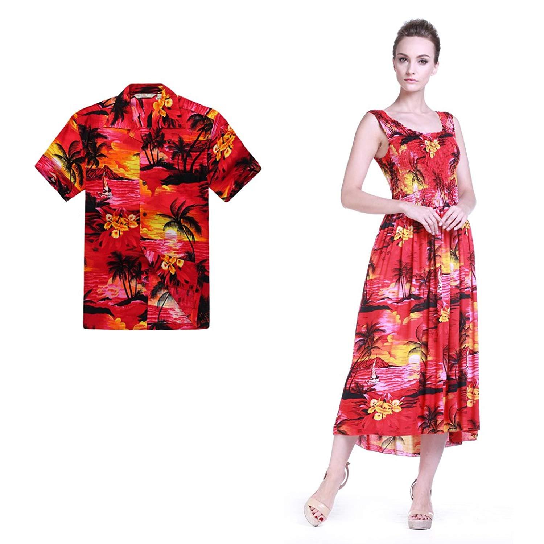6b31de057a71 Get Quotations · Hawaii Hangover Couple Matching Hawaiian Luau Aloha Shirt  Tank Dress in Sunred