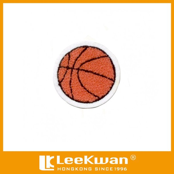 Custom basketball chenille embroidery patch for T-shirt and sportswear