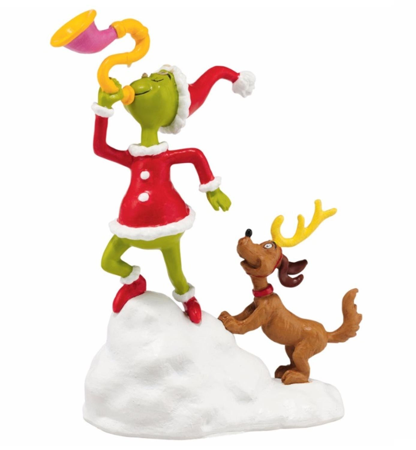 "Department 56 Dr. Seuss The Grinch ""Grinch And Max, A Toot"" Christmas Figurine #4047198"