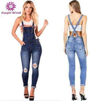 ccc6632d6baf9 Ripped On The Knee Denim Overalls Custom Womens Jeans Stock Product ...
