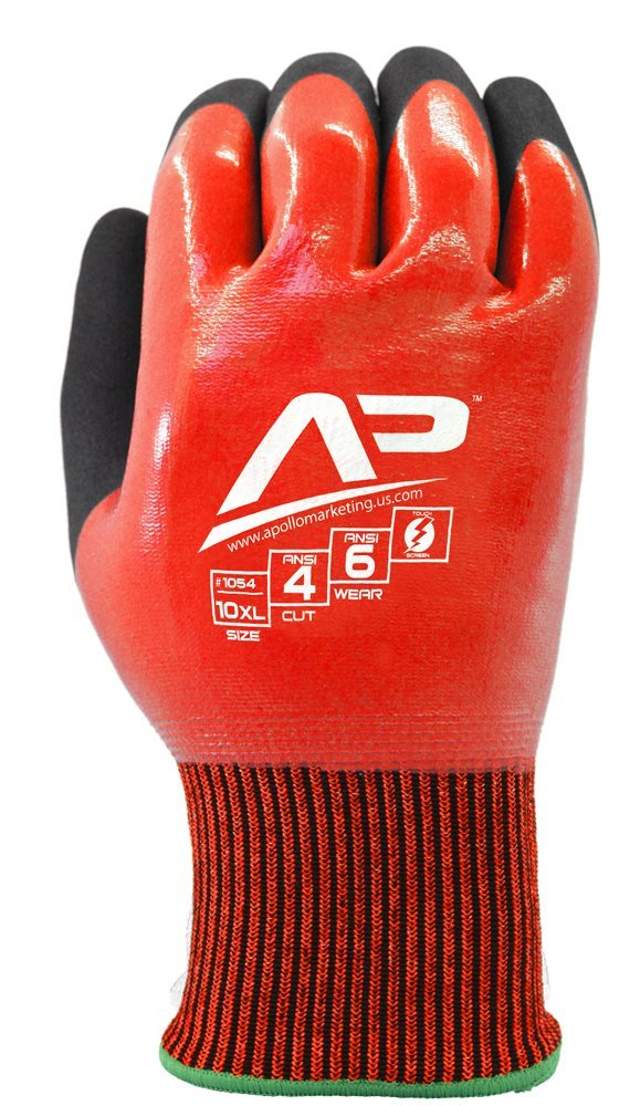 Apollo Performance Work Gloves 1052, Tool Grabber Cut Protect 4 Liquid Proof, Cut Resistant Glove, 13 Gauge HPPE Knit with Nitrile Coating, Triple Polymer Hybrid Grip, Touch Screen Capabilities with Lightning Touch Technology, ANSI Cut Level 4, 1 Pair, Medium, Red/Black