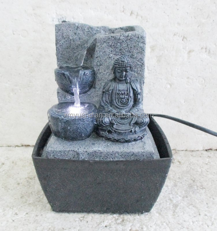 Resin buddha table water fountain with 2 bowls