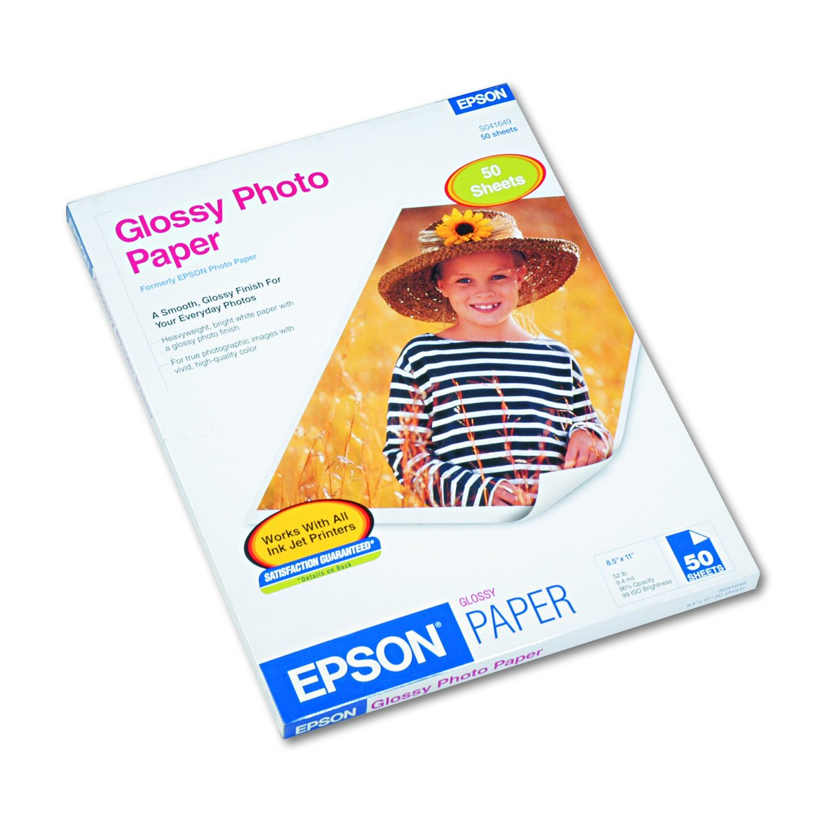 Epson S041649 Glossy Photo Paper, 52 lbs., Glossy, 8-1/2 x 11 (Pack of 50 Sheets)