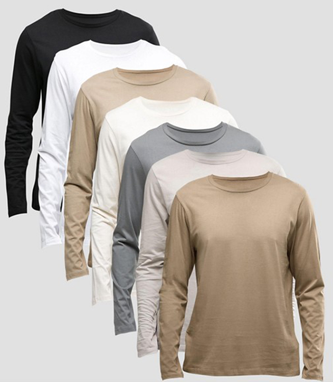 Long Sleeve Cotton Colors Available Men Blank T Shirts Cheap Wholesale