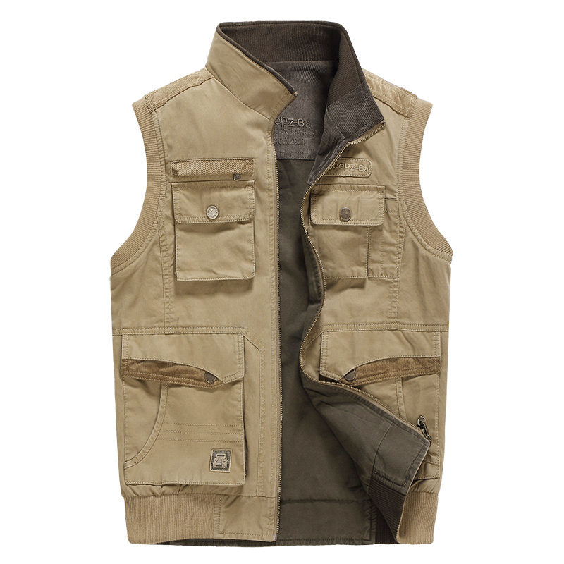 Double-sided wear vest for men chaleco caza mens outdoor camping hunting photography vest with many multi pockets vest Waistcoat