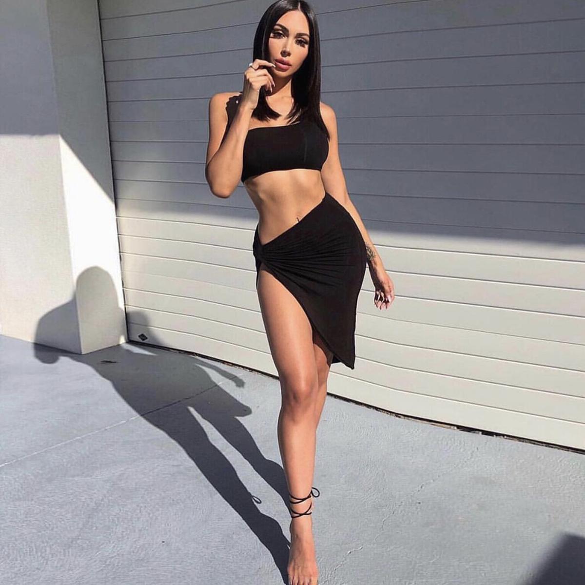 Seksi Dua Piece Gaun Wanita Gaun Bodycon Wanita Top Rok Dua Sepotong Set Pakaian Wanita
