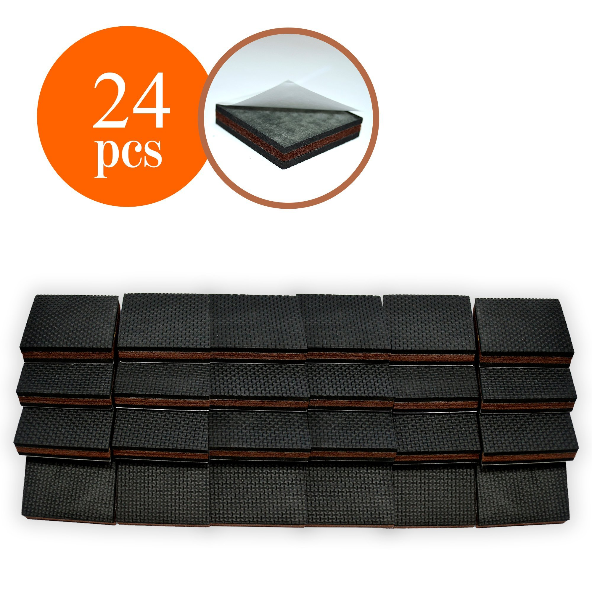 NON SLIP Furniture Pads 24 PCS SQUARE! Premium 2u201d Furniture Feet With  Rubber U0026