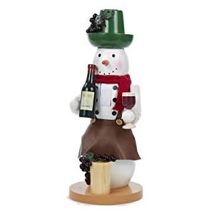 "Kurt Adler 14.5"" Tuscan Winery Wooden Cabernet Wine Snowman Decorative Christmas Nutcracker Decoration"