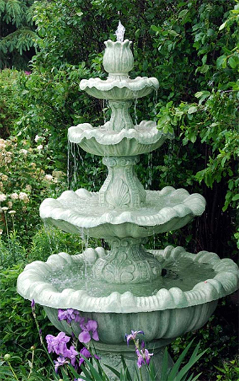 Get Quotations · 8u0027 Calypso Cast Stone Concrete 4 Tier Outdoor Garden Water  Fountain