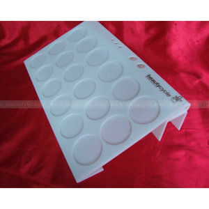 White Acrylic eye shadow and blush holder, Acrylic Cosmetic Display Unit, Slanted Counter Clear Cosmetic Riser
