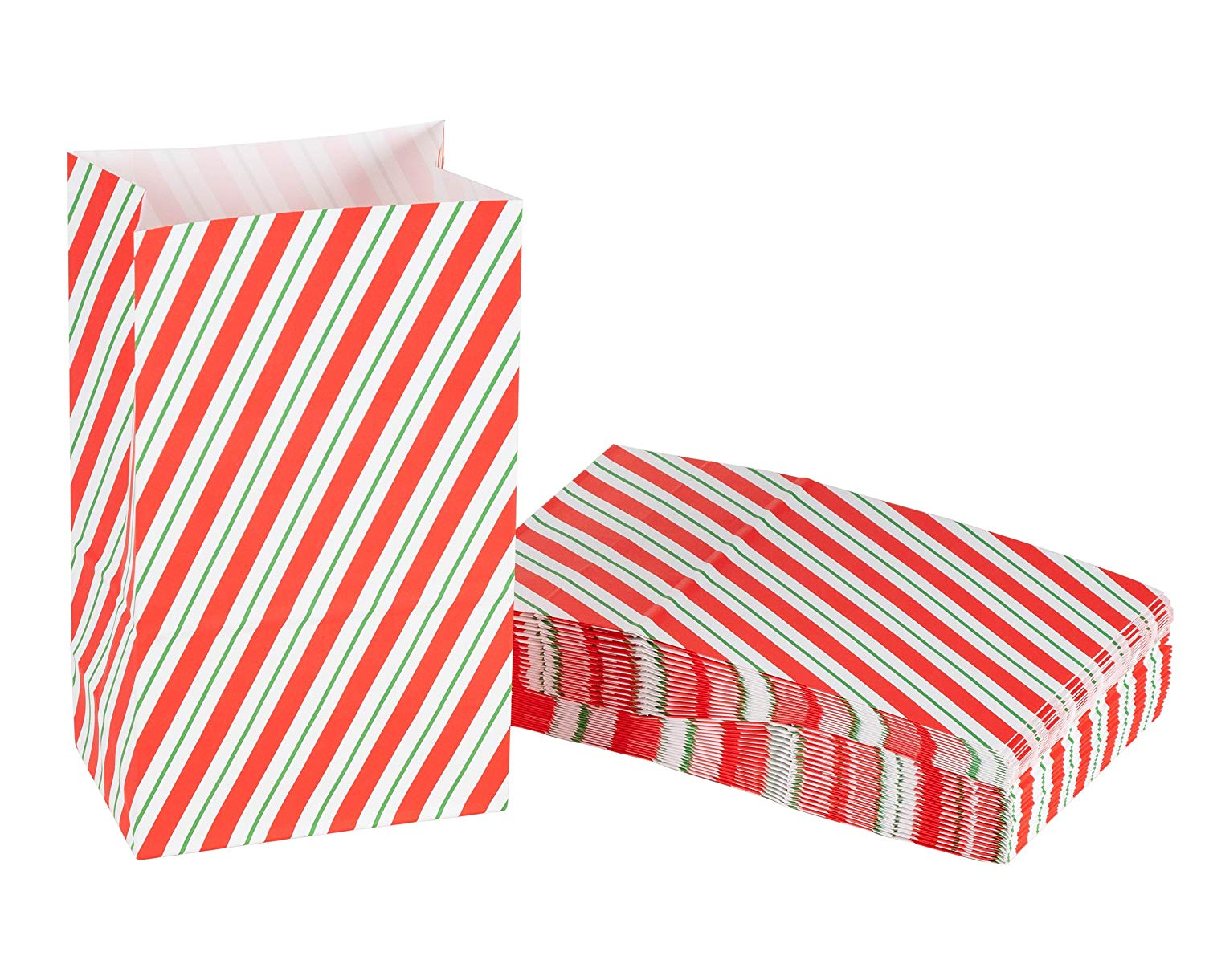 Party Treat Bags - 36-Pack Gift Bags, Christmas Party Supplies, Paper Favor Bags, Recyclable Goodie Bags for Kids, Candy Cane Design, 5.2 x 8.7 x 3.3 Inches