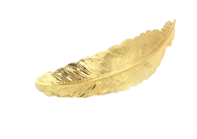 H794-286 latest fashion gold women hair accessory metal feather hair barrette spring clip