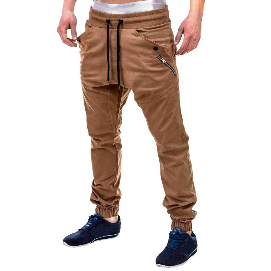 Mens Jogger Sport Pants,Elogoog Clearance Casual Zipper Gym Workout Sweatpants Pocket
