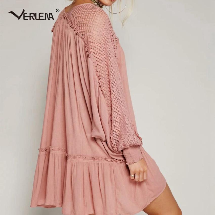 da84f899480 Verlena 2018 Plus Size Boho Swing Dress Women Beach Summer Dress Crochet  Lace Patchwork Long Sleeve Shirred Cuffs Sweet Dresses