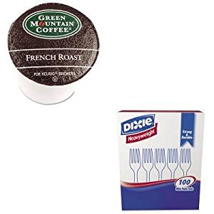 KITDXEFH207GMT6694CT - Value Kit - Green Mountain Coffee Roasters French Roast Coffee K-Cups (GMT6694CT) and Dixie Plastic Cutlery (DXEFH207)