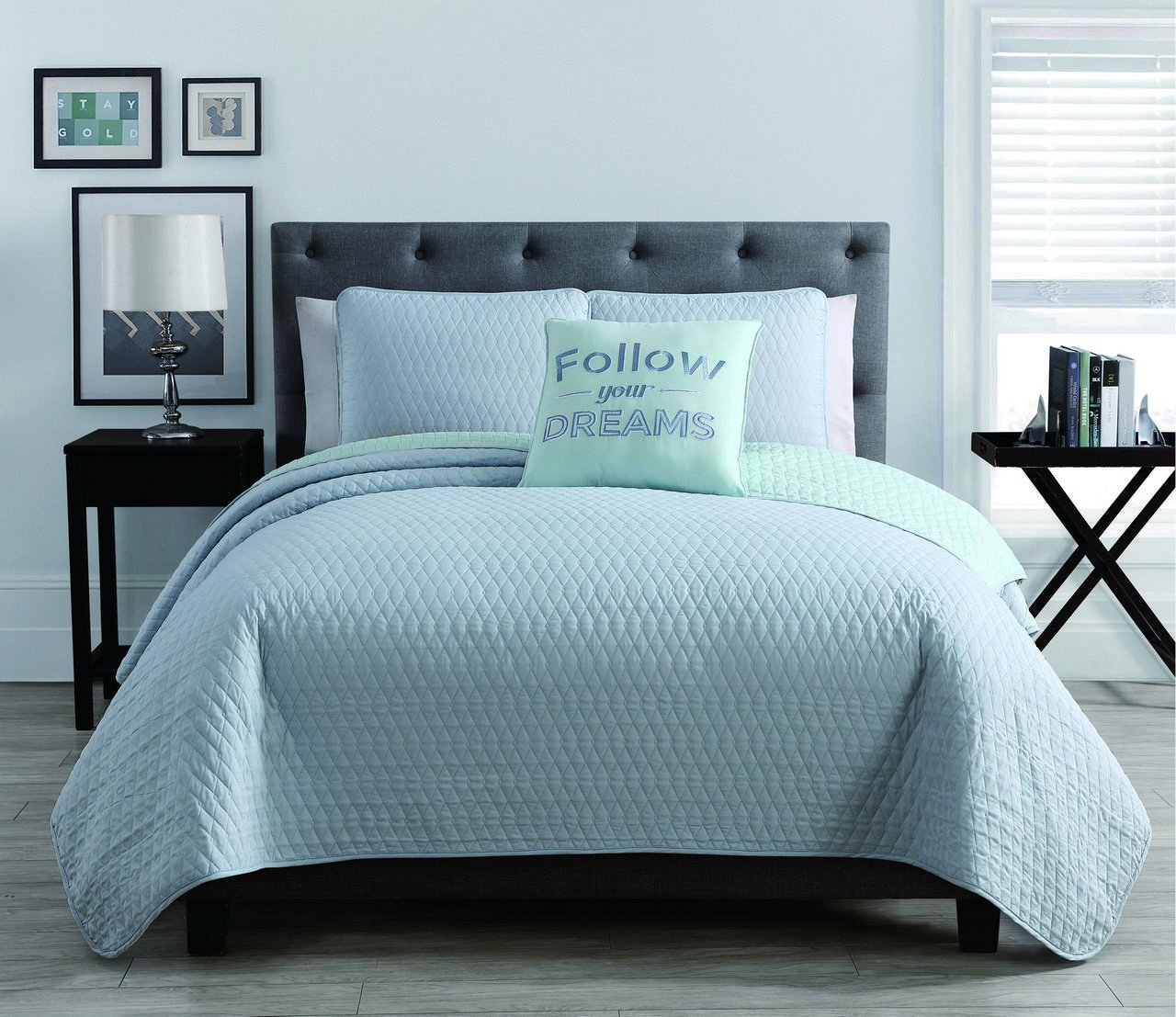 Get quotations · s l home fashions 4 piece queen diamond light blue mint quilt set