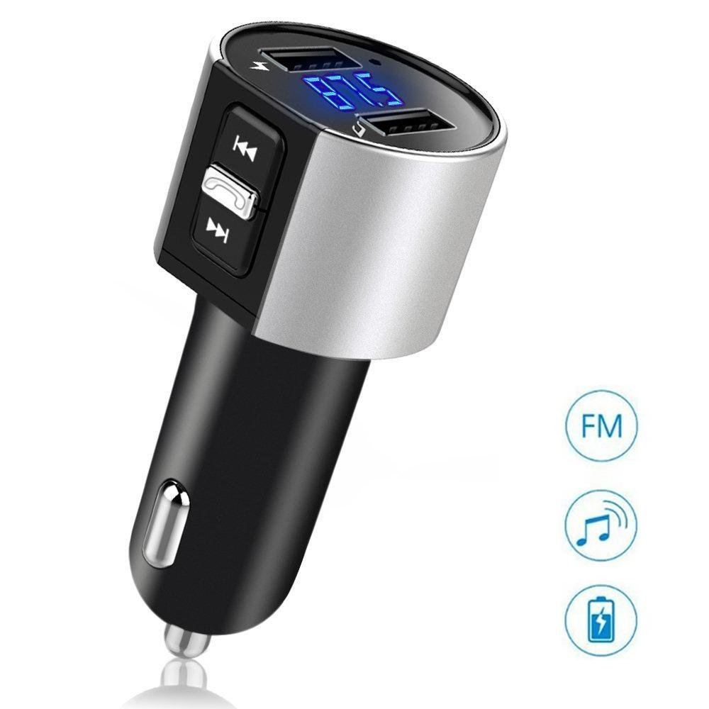 Teepao Bluetooth FM Transmitter Bluetooth Receiver MP3 Player Wireless Car FM Radio Adapter with Hands-free Calling Car Kit with Dual USB Port Charger 5V/3.4A for IPhone Samsung