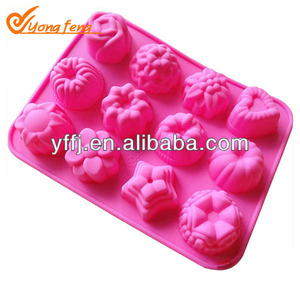 12pcs 3D silicone rose cake mold jelly mold