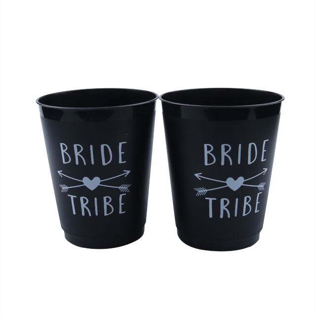 White letter printing party supply bride cup black disposable party plastic cups