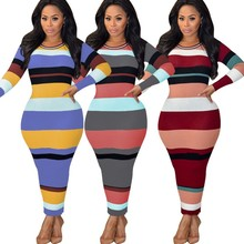 Women Color Block Patchwork Sweater Dress 2019 Autumn Winter Sexy Bodycon Long Dress Elastic Striped Skinny Knitted Dress