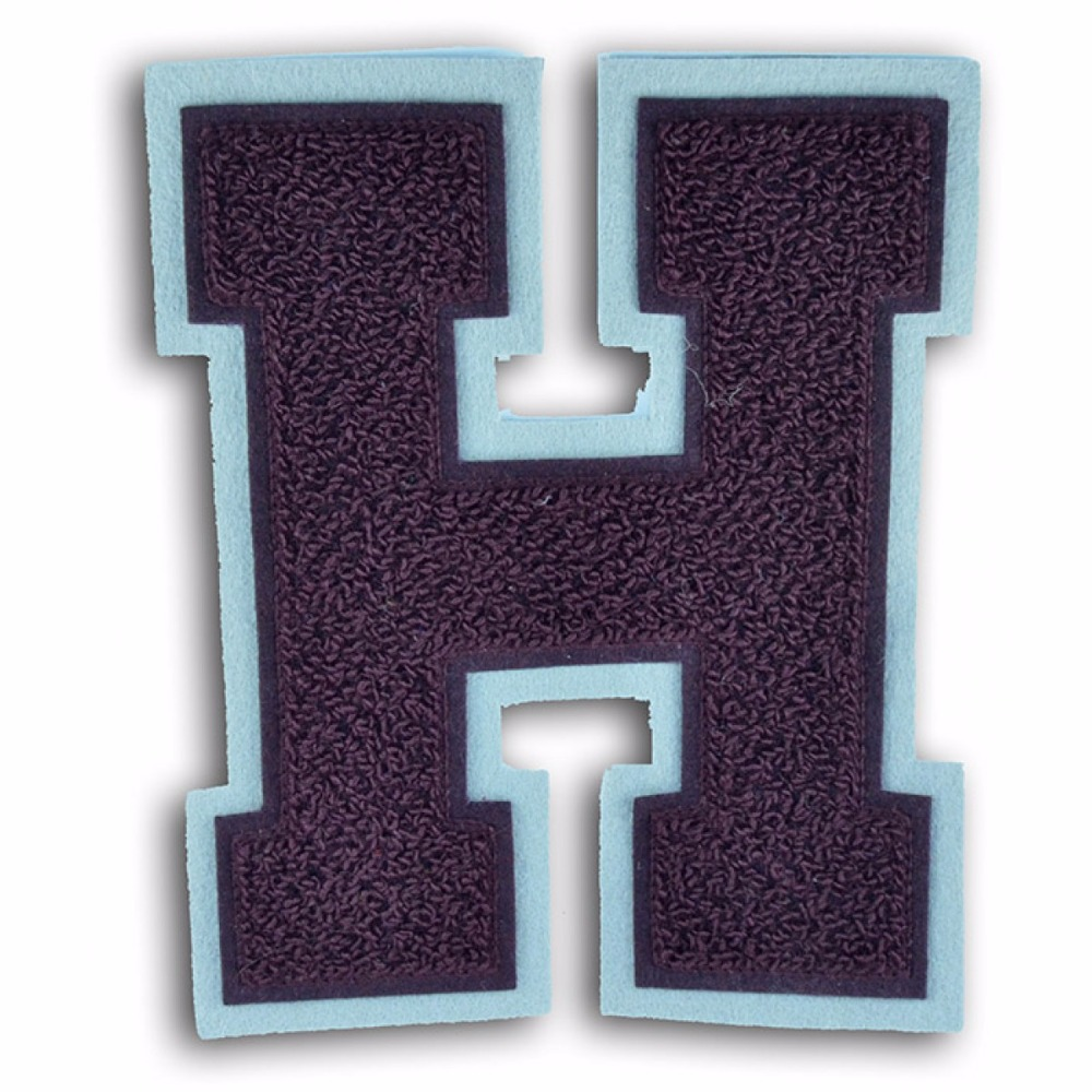 Customized cheap towel embroidery chenille iron on patch letters