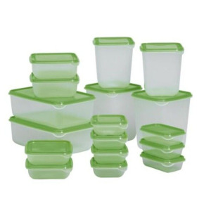 17 pcs round food storage rectangle plastic microwave food container
