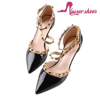 2017 Luxury fashion dress shoes leather women pencil high heel shoes for ladies studs heel shoes