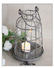 Rustic Gray Small Metal Decorative Birds Cages Candle Holder