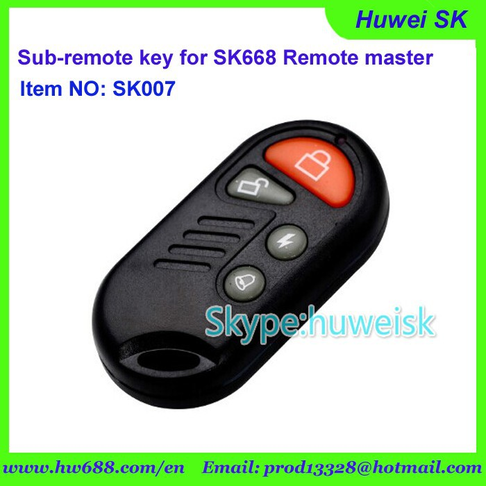 SK007 waterproof style NO.A fixed code sub-remote key for SK668 remote master with 315MHz, 433.92 MHz, adjustable frequency