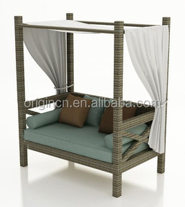 Old chinese style home hotel balcony canopy daybed for leisure time outdoor rattan sun bed