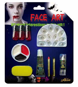halloween makeup kit for kids. halloween makeup set with fake nail, blood, face paint and lipstick the one kit for kids r