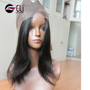 Wholesale Virgin Brazilian Human Hair straight 360 Lace Frontal Top Quality  Lace Band 360 Closure wigs 71cae6f809
