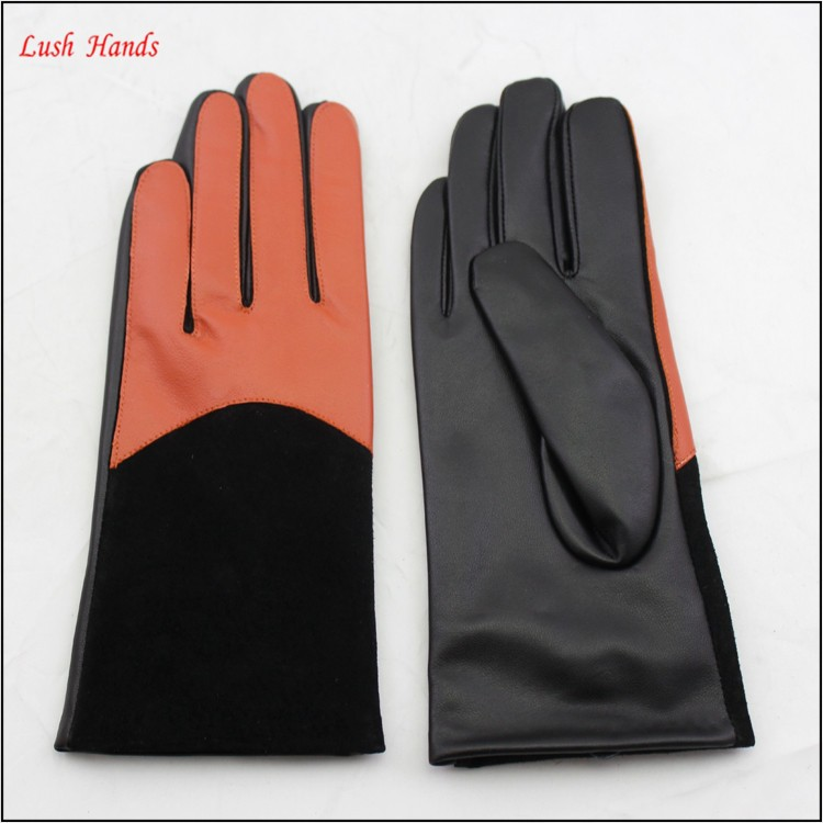 ladies cheap wholesale PU leather hand gloves with colorful finger